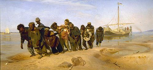 A painting by Ilya Repin Barge Haulers on the Volga